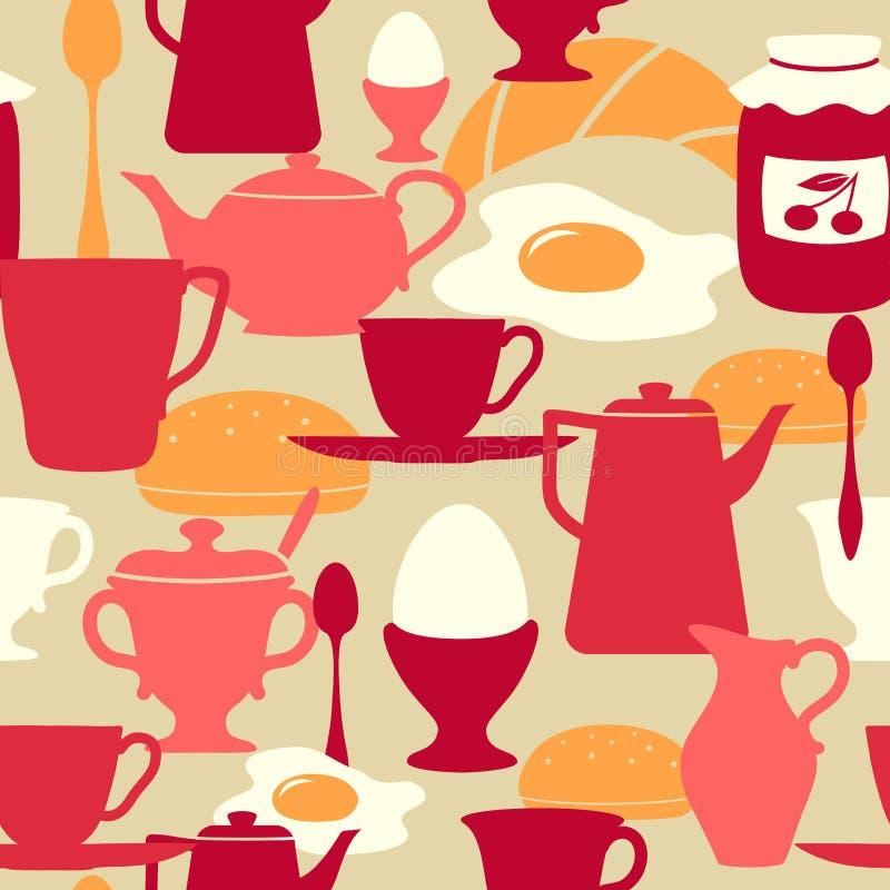 seamless tema för frukostmodell royaltyfri illustrationer