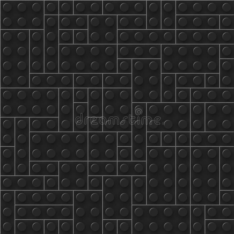 Seamless template of realistic dark plastic bricks. Construction blocks. Just drop to swatches and enjoy. EPS 10. Vector file included stock illustration
