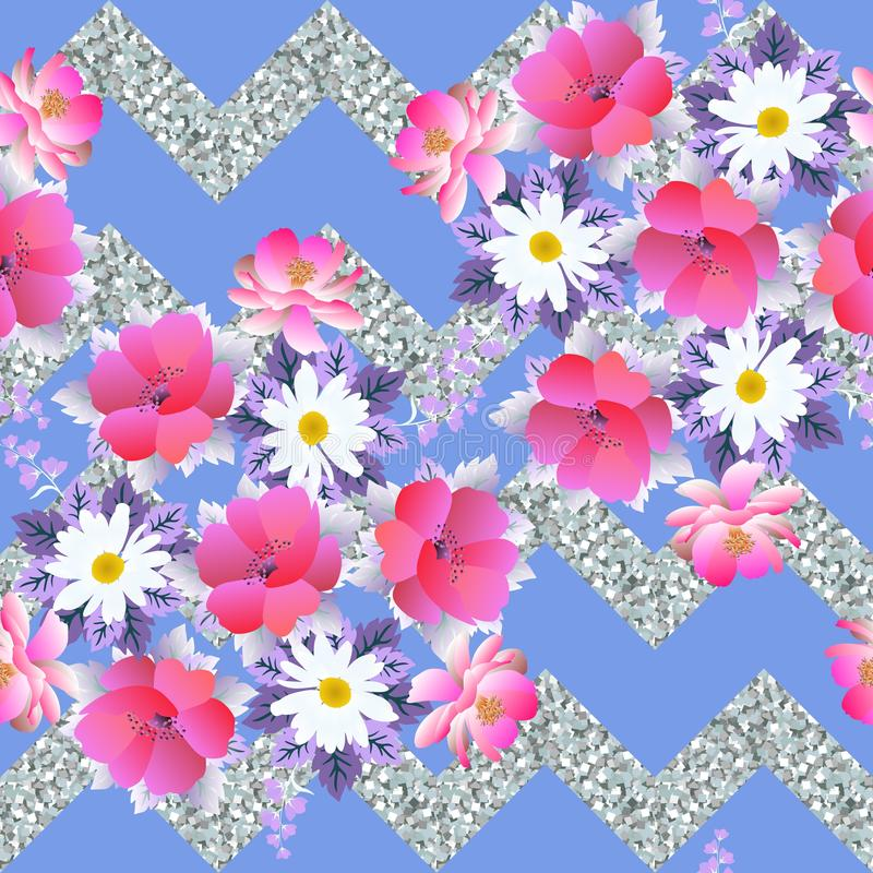 Seamless tender floral pattern on abstract silver and blue zigzag background stock illustration
