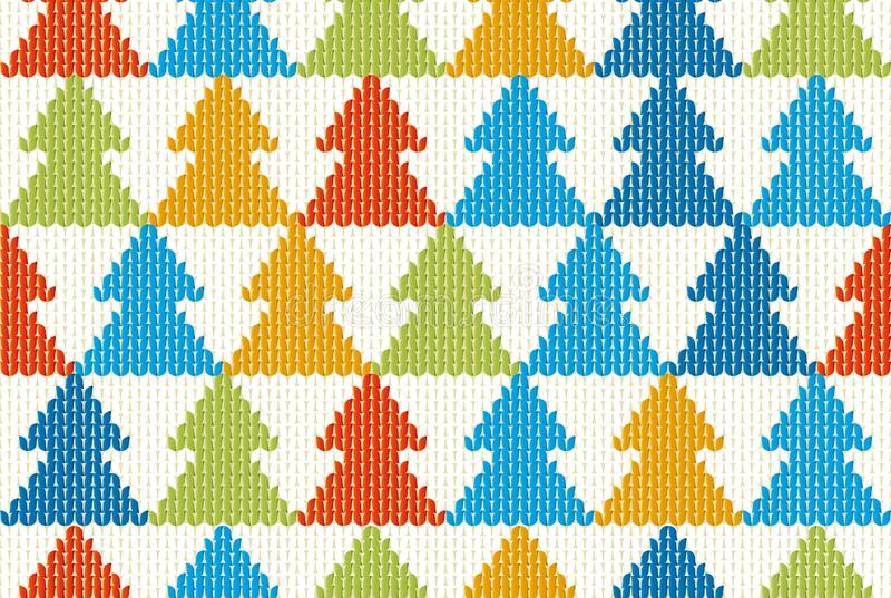 Seamless textile Christmas background with tree pattern stock photo