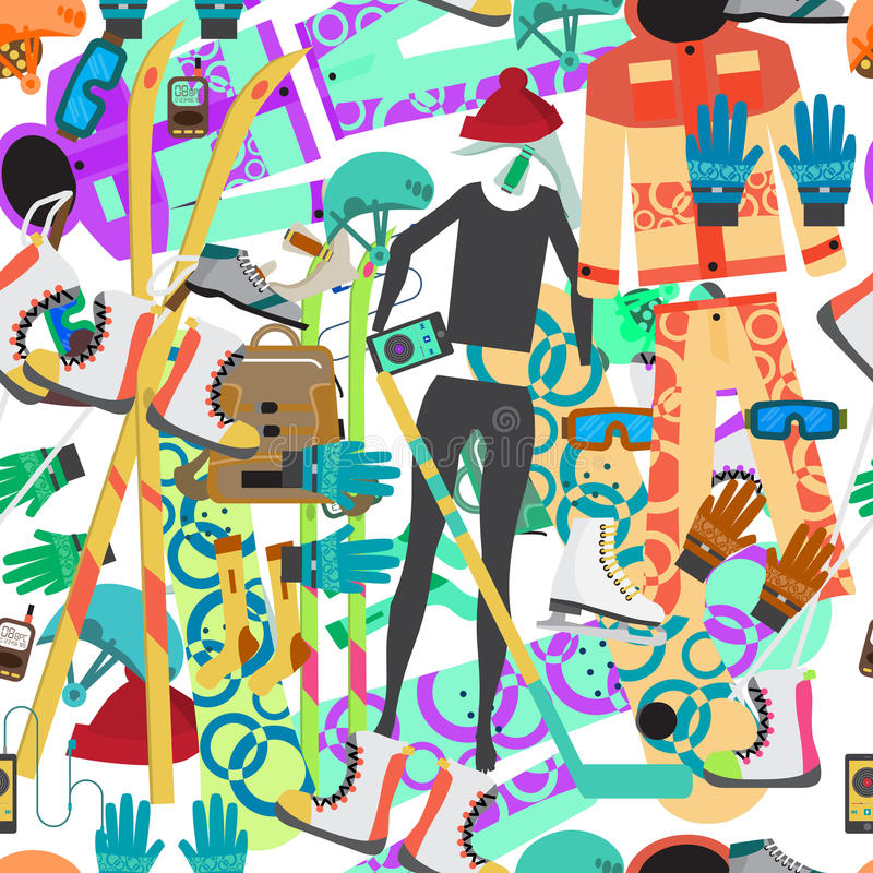 Seamless textile pattern with equipment and supplies for winter. Sports royalty free illustration