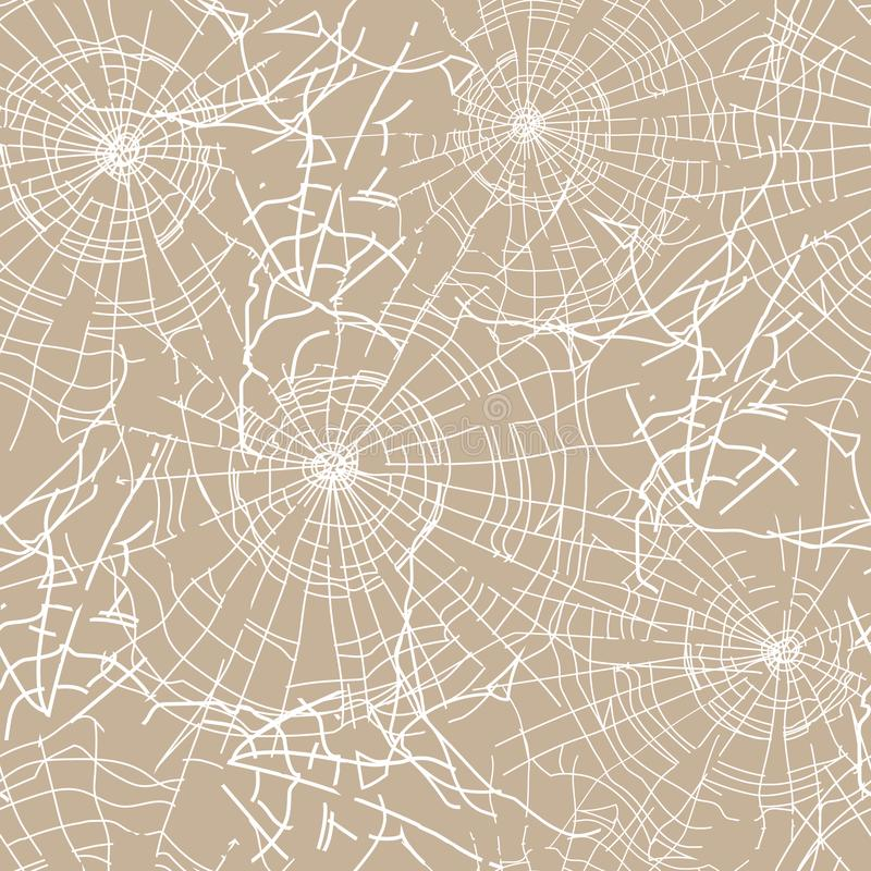 Seamless textile pattern. Halloween ornament of white spider web on a beige background for fabric, tile, paper vector illustration