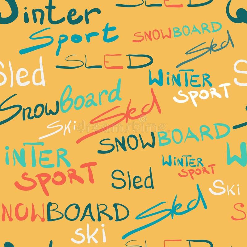 Seamless textile pattern winter sport lettering style. Seamless textile pattern winter sport lettering design style stock illustration