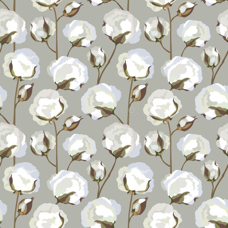 Seamless textur med bomullsblommaleaves stock illustrationer