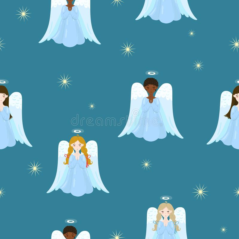 Seamless texture with angels and stars.  image vector illustration