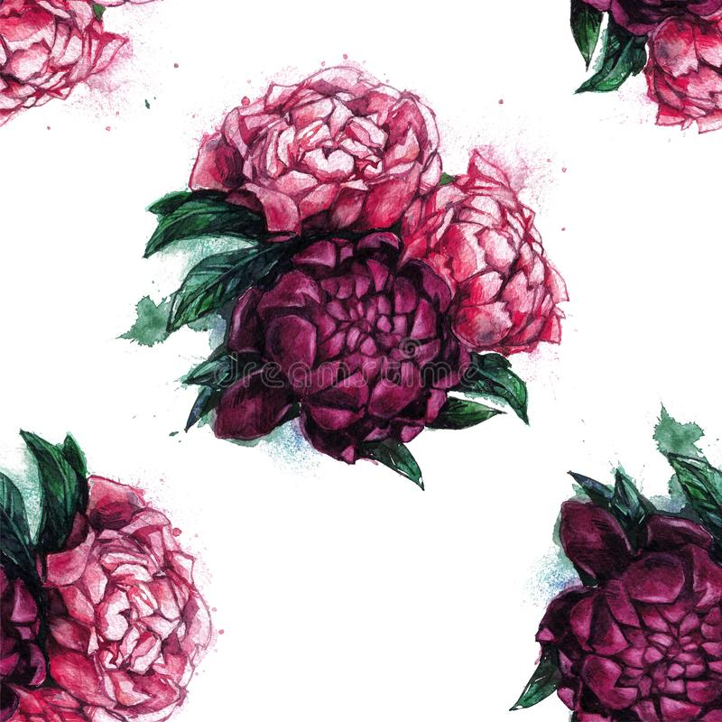 Seamless texture with beautiful peonies. royalty free stock photo