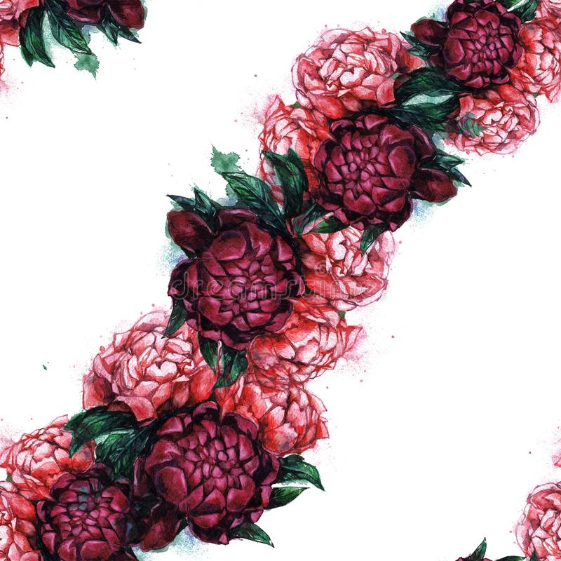 Seamless texture with beautiful peonies. stock photography