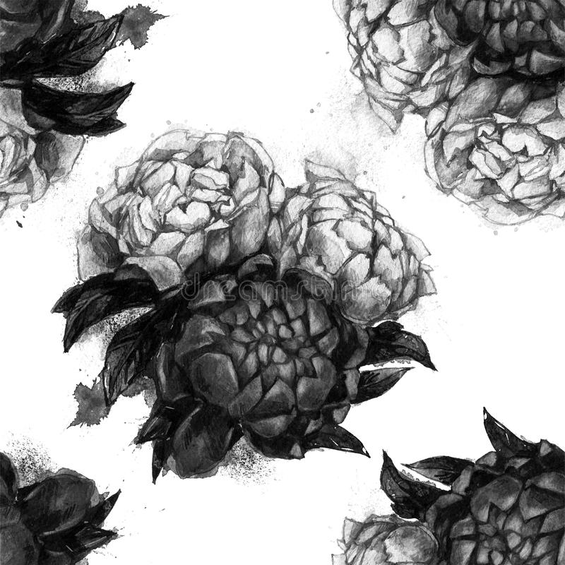 Seamless texture with beautiful peonies. stock images