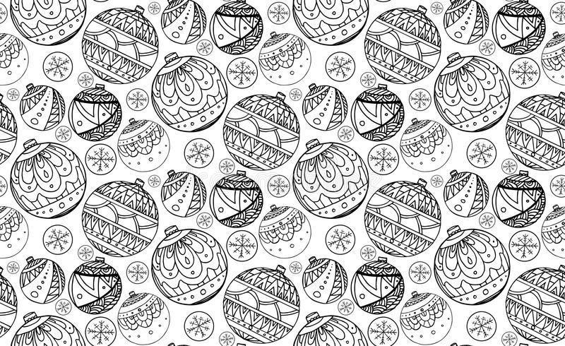 Seamless texture with black and white Christmas balls vector illustration