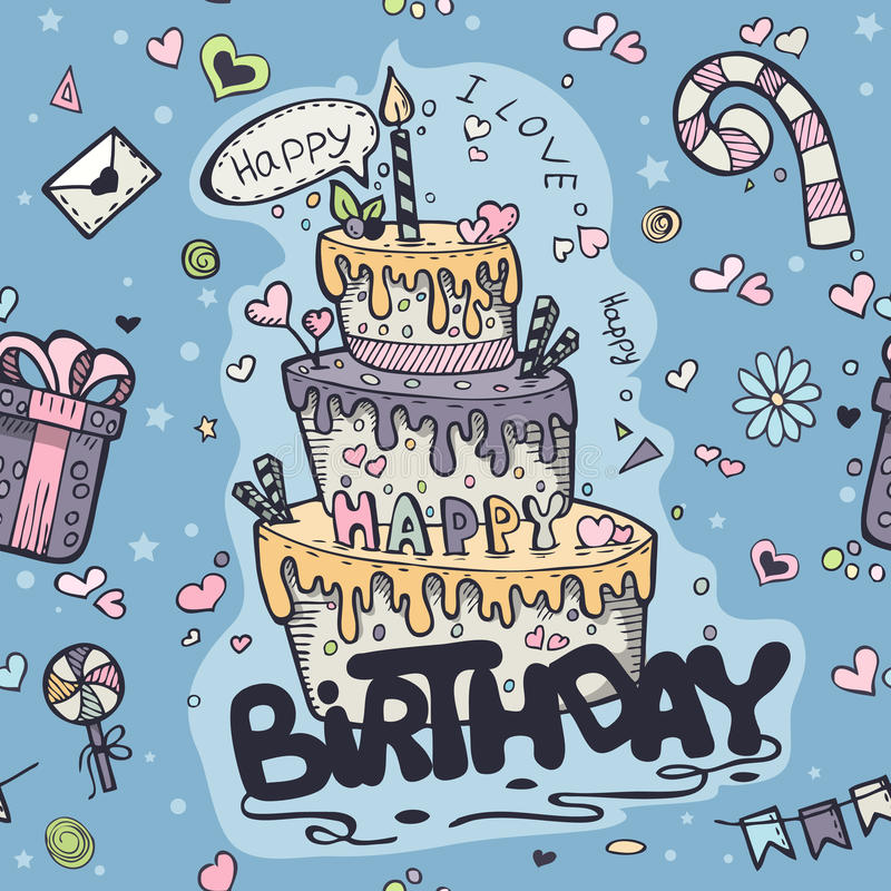 Seamless texture of blue colored doodles to birthday.  vector illustration