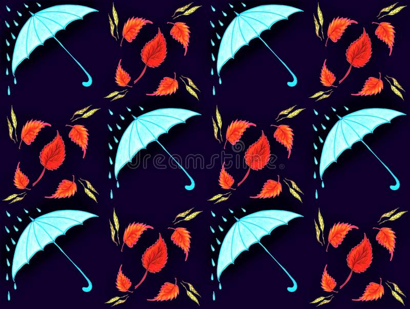 Seamless texture blue umbrellas. Seamless texture of blue umbrellas and circling golden leaves royalty free illustration