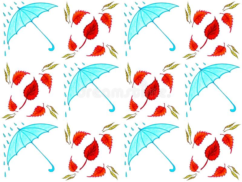 Seamless texture blue umbrellas. Seamless texture of blue umbrellas and circling golden leaves stock illustration