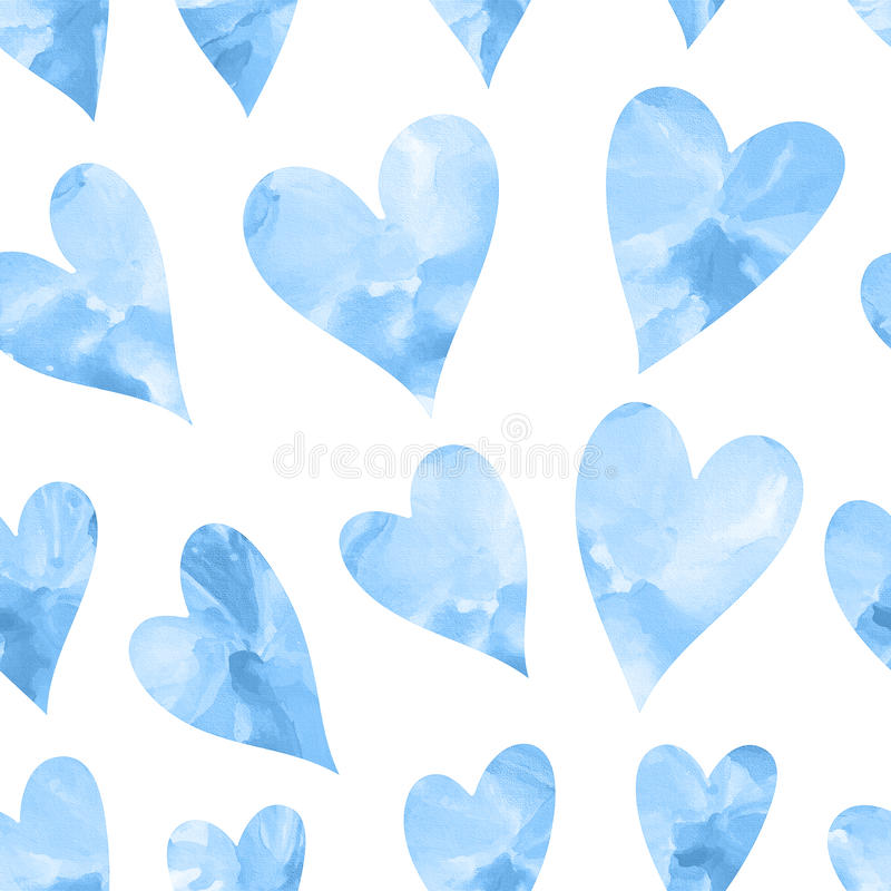 Seamless texture with blue watercolor hearts. Seamless hearts background. Happy Valentine's Day stock illustration
