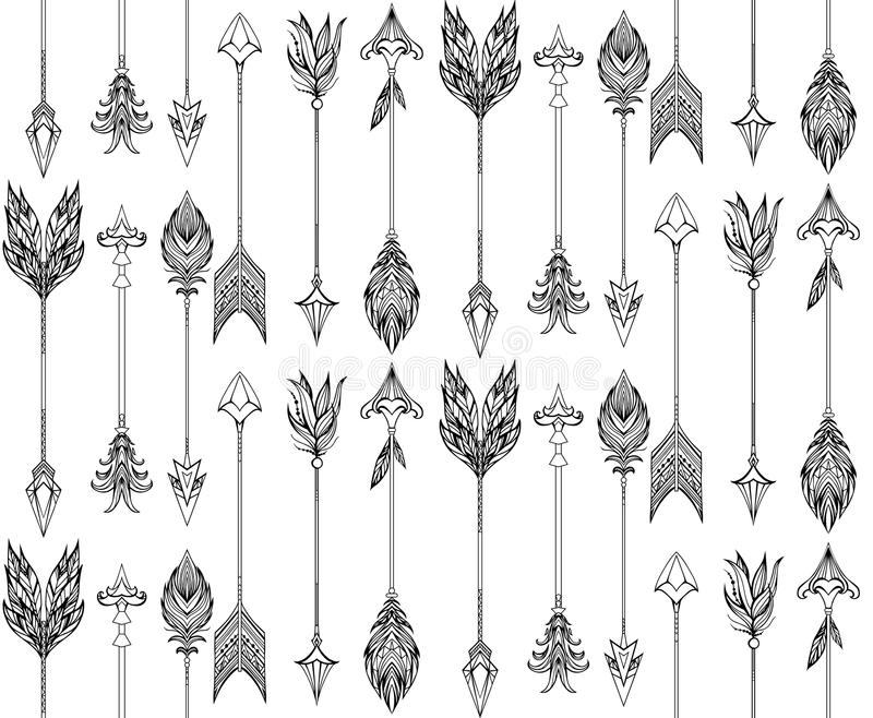 Seamless texture with boho arrows with different tips and plumage. stock illustration