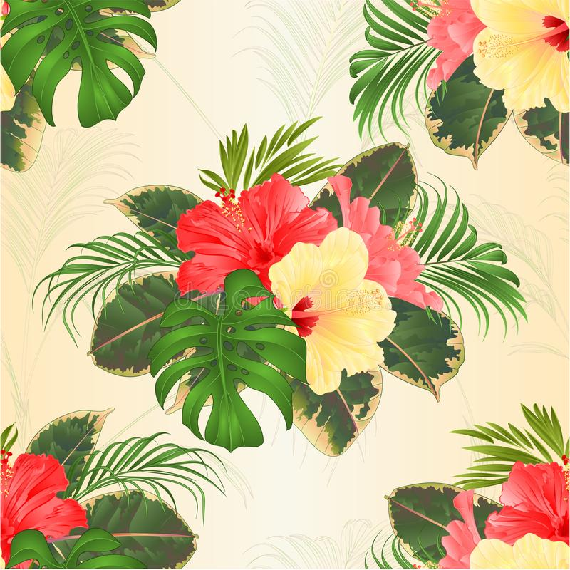 Seamless Texture Bouquet With Tropical Flowers Hawaiian Style Floral ...