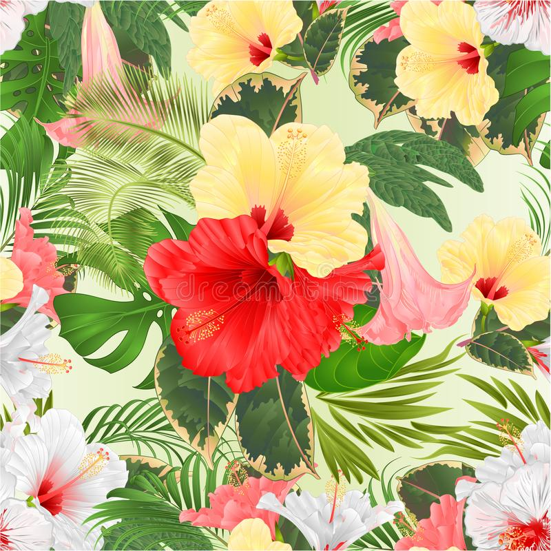 Seamless texture bouquet with tropical flowers pink red yellow and white hibiscus and Brugmansia and palm,philodendron watercolo stock illustration