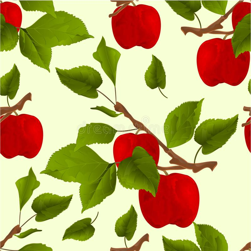 Seamless texture branch apple tree with red apples and leaves autumn background watercolor vitage vector illustration editable vector illustration