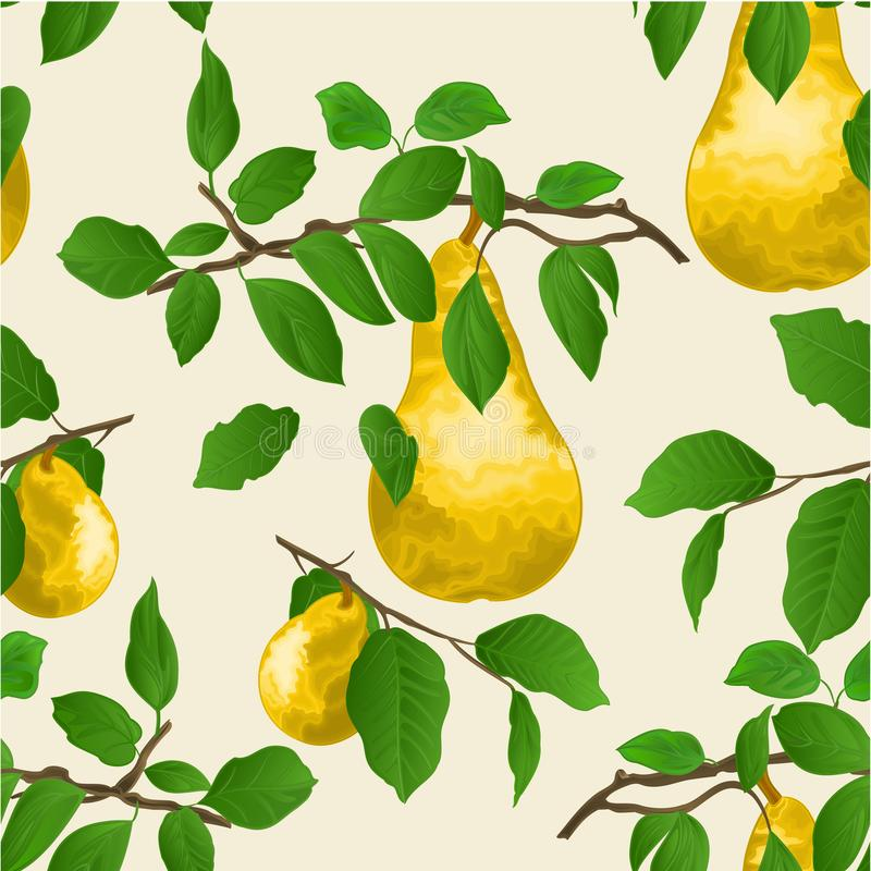 Seamless texture branch of pears with yellow ripe pear and leaves autumn background watercolor vitage vector illustration editab royalty free illustration