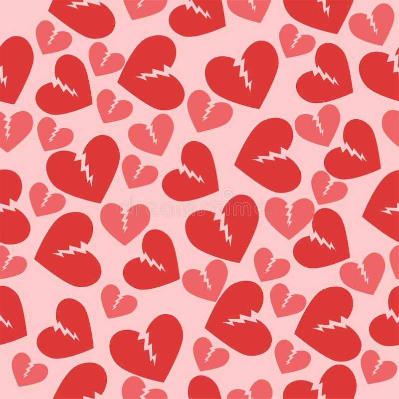 Seamless texture with broken hearts. Red pink color. Vector pattern vector illustration