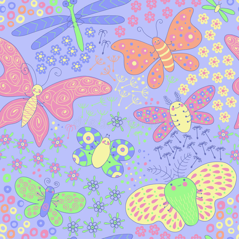 Seamless texture with butterflies and flowers. Seamless pattern can be used for wallpaper, pattern fills, web page background,surface textures. Gorgeous vector illustration