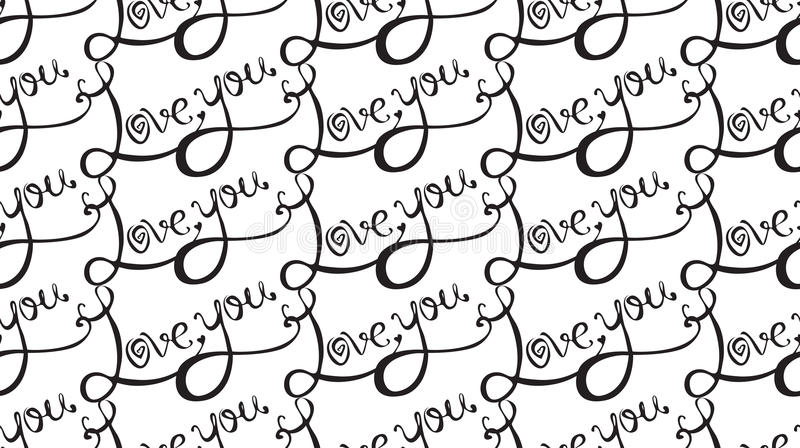 Seamless texture with calligraphic inscription I love you stock illustration