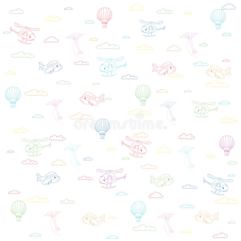 Seamless texture with cartoon transport. Helicopter, aircraft. Balloon and kite in cloudy sky. Vector colorful background vector illustration