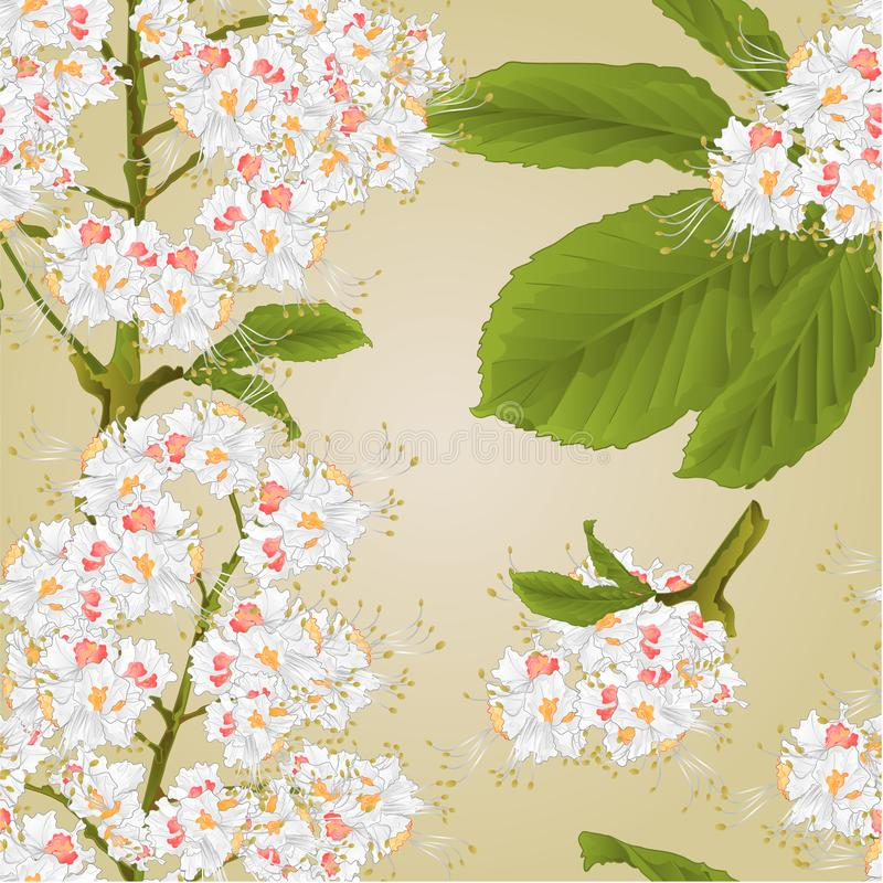 Seamless texture Chestnut tree flowers with leaves spring background vintage vector illustration editable vector illustration