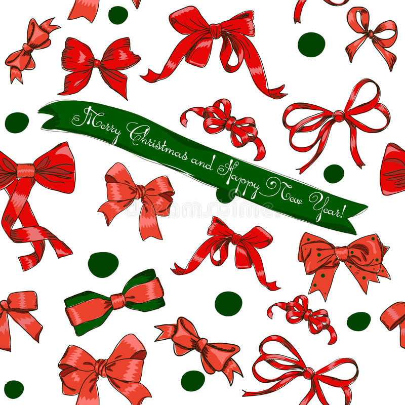 Download Seamless Texture With Chrestmas Red Bows Stock Vector - Image: 27029381