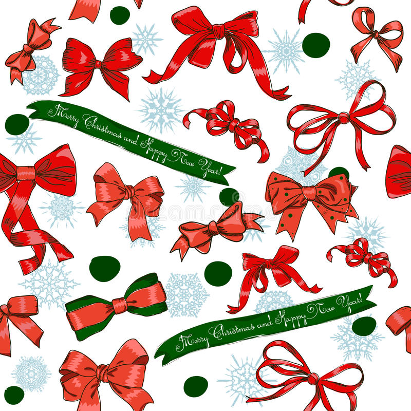 Download Seamless Texture With Chrestmas Red Bows Stock Vector - Image: 27029460