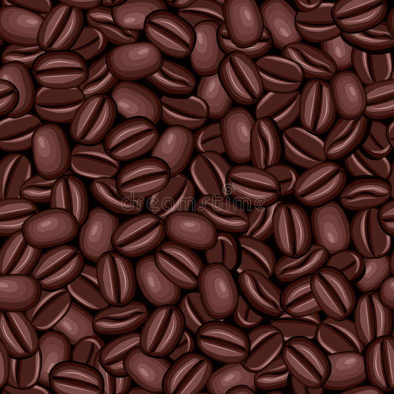 Seamless texture of coffee beans stock illustration