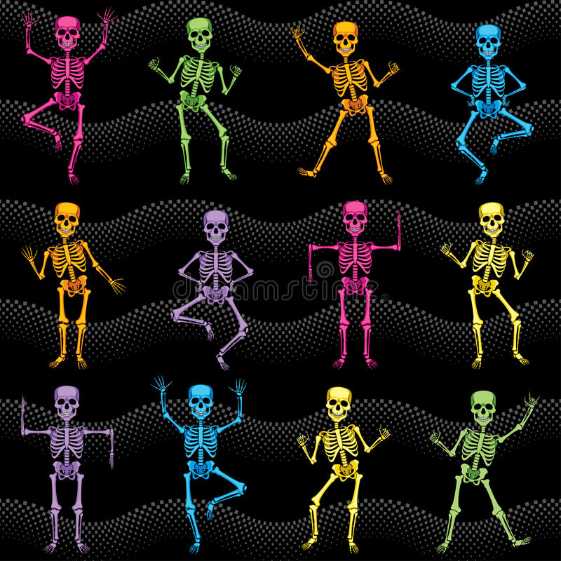 Seamless texture of colorful dancing skeletons vector illustration