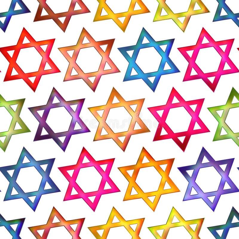 Seamless texture colorful Jewish star. Seamless texture colorful symbol Jewish star backgrounds royalty free illustration