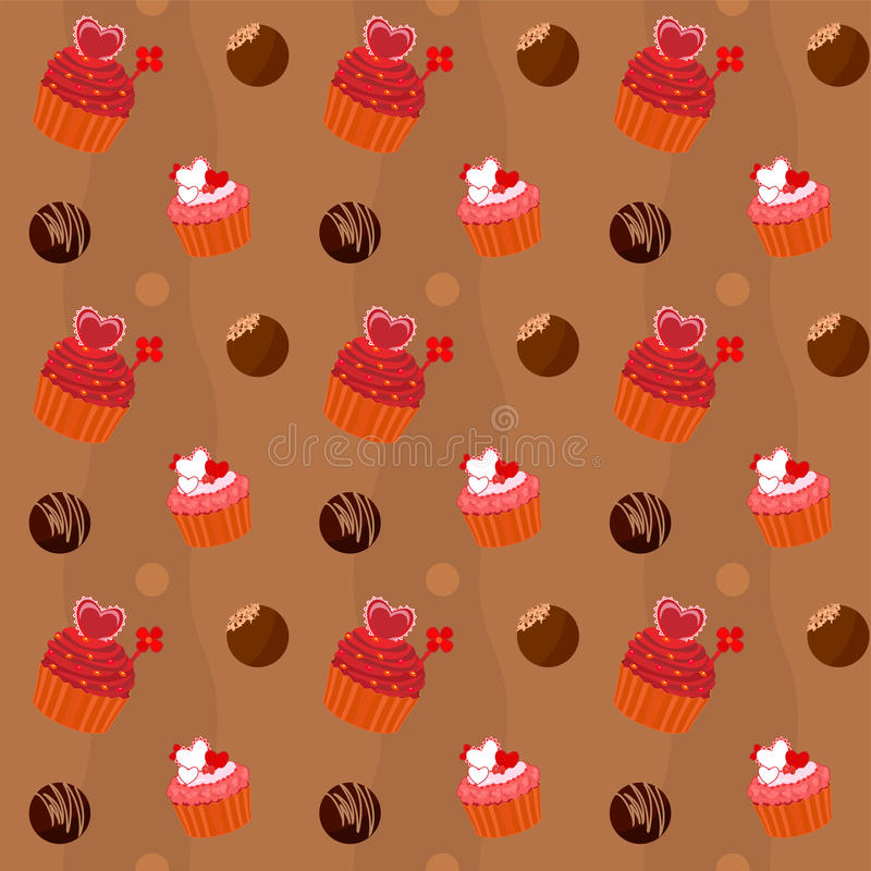 Seamless texture  - cupcakes and chocolate Sweets