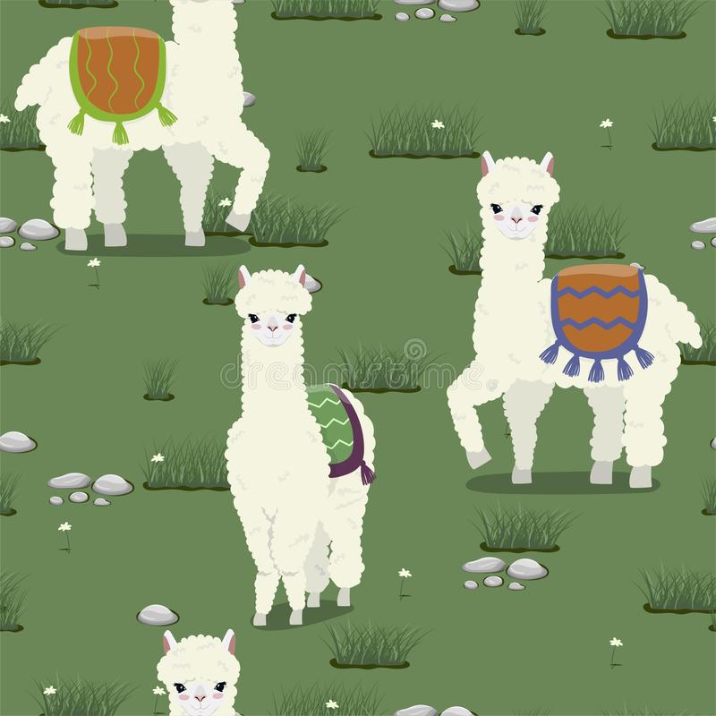 Seamless texture with cute alpacas grazing on the meadow. Vector pattern stock illustration
