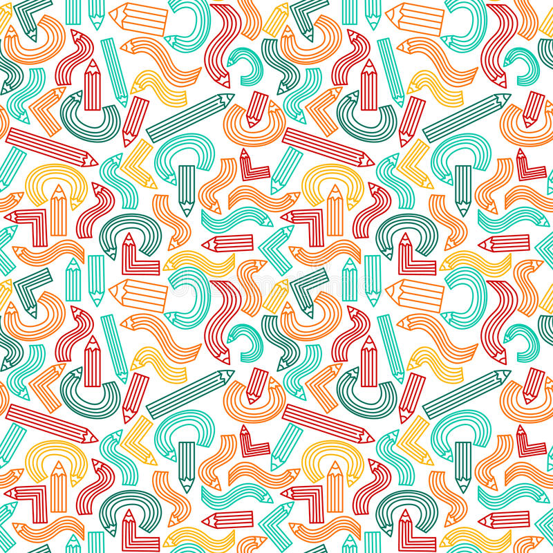 Seamless texture with cute colorful pencils. Vector illustration vector illustration