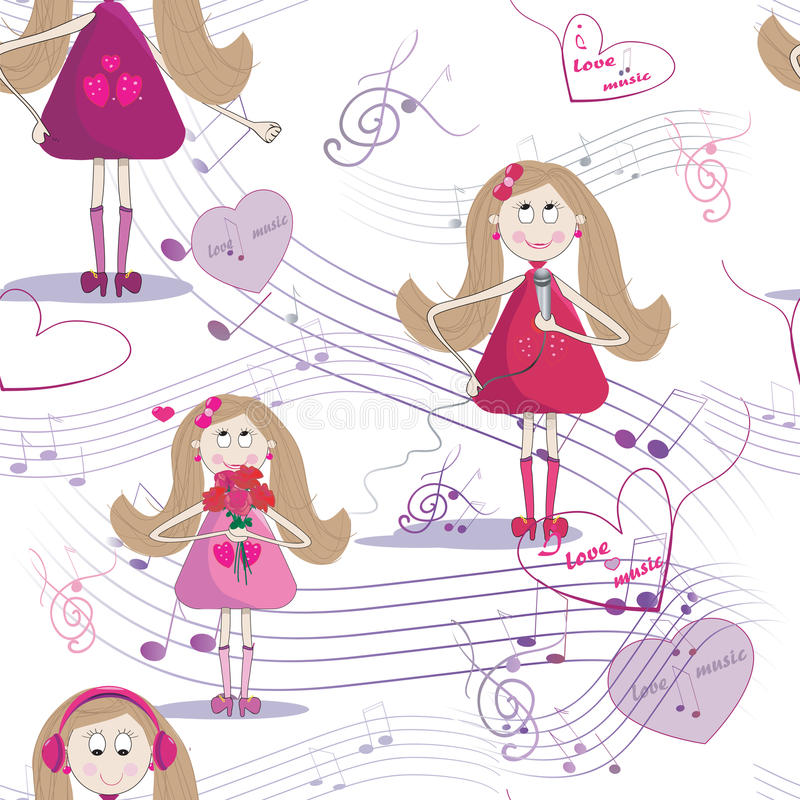 Seamless texture with cute girl who sing a song, listen to the music. White background royalty free illustration