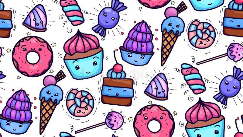 Seamless texture with cute, kawai sweets and confection on white background. Vector pattern for textiles, fabrics, wrapping paper, cards and for your design vector illustration