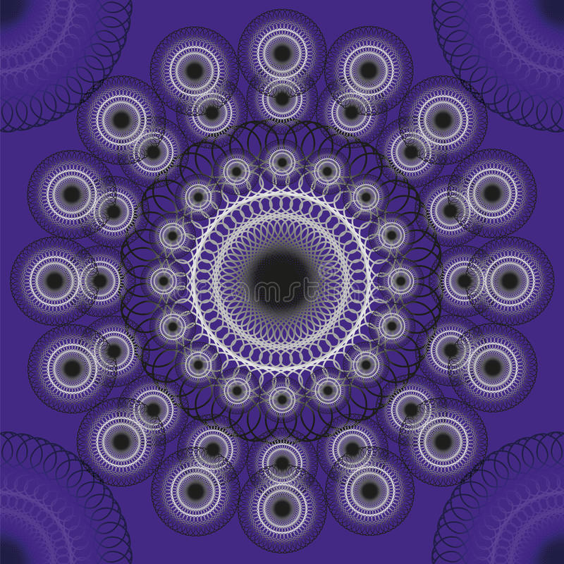 Seamless texture. With decorative black and white pattern on dakr purple background in round stock illustration