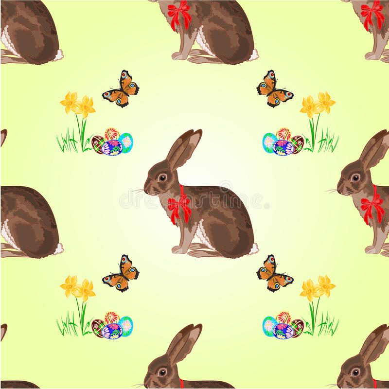 Seamless texture easter hare with butterflies and daffodil vector. Seamless texture easter hare with butterflies and daffodil and easter eggs vector illustration stock illustration