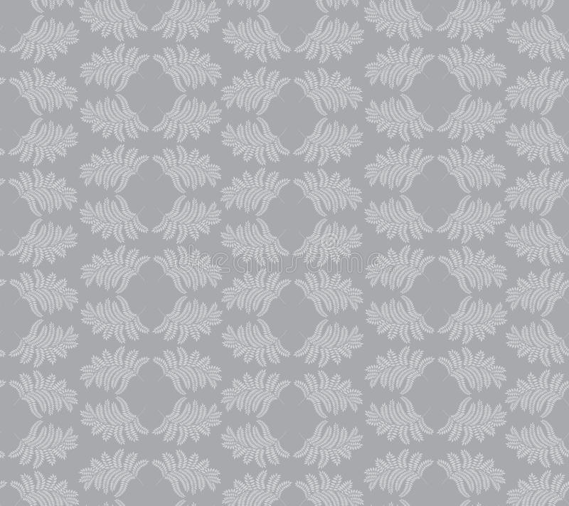 Seamless texture with floral ornament. Seamless pattern with outline leaves on gray background vector illustration