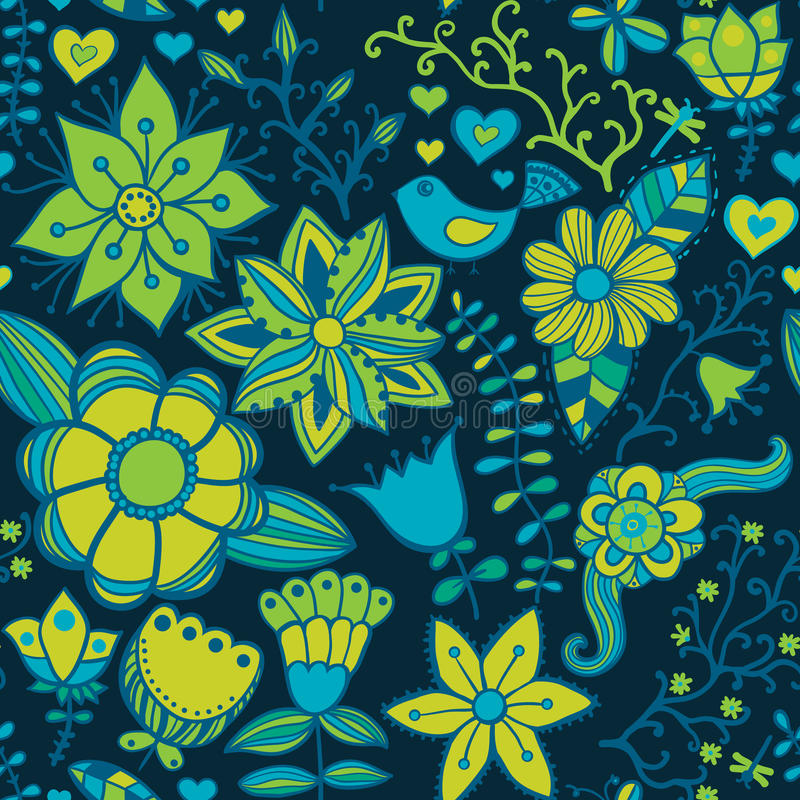 Seamless texture with flowers and butterflies. Endless floral pa. Ttern.Seamless pattern can be used for wallpaper, pattern fills, web page background, surface vector illustration
