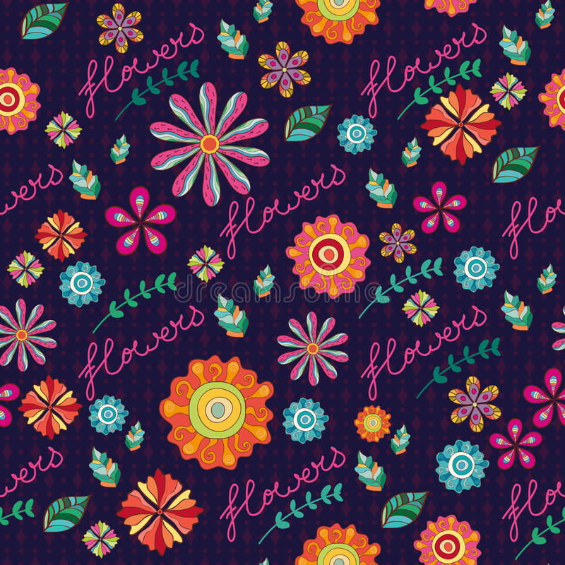 Seamless texture with flowers. Floral pattern. Seamless texture with bright flowers. Floral pattern vector illustration