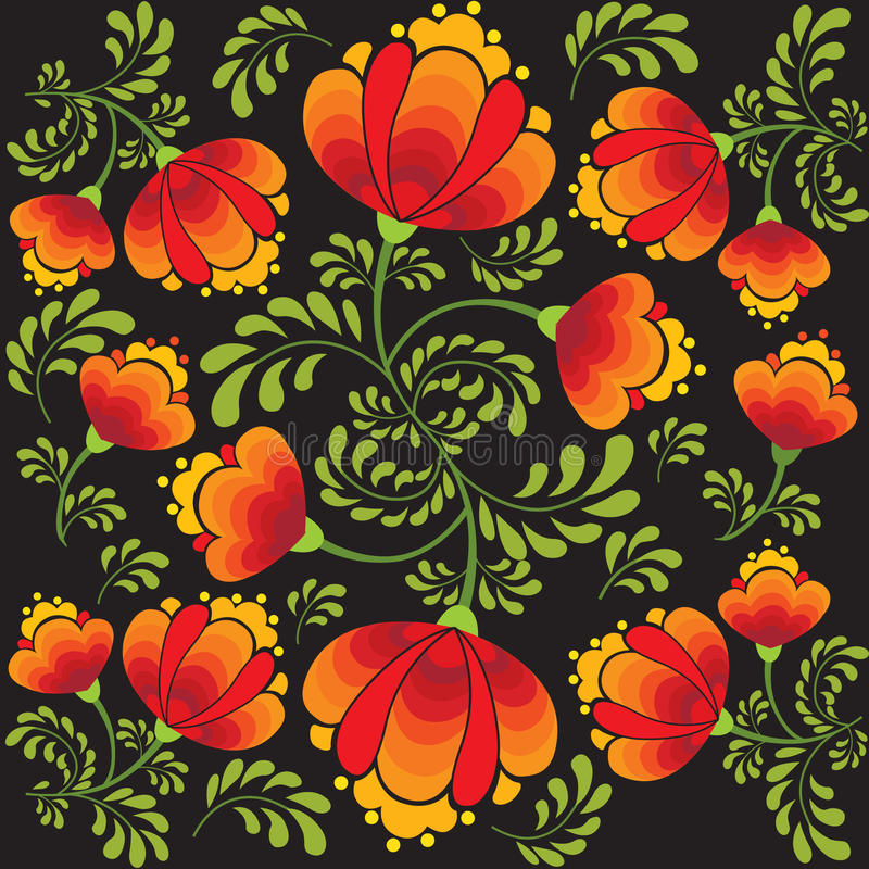 Seamless texture flowers in russian style