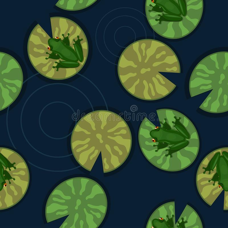 Seamless texture of frogs on lily pads on a pond. Vector illustration stock illustration