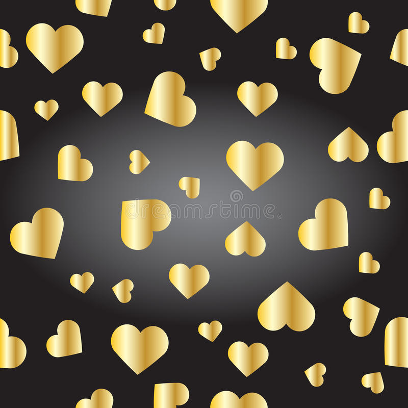Seamless texture from golden hearts. On the black gradient background. 3D effect. Background for webs, post cards, e-mails etc royalty free illustration