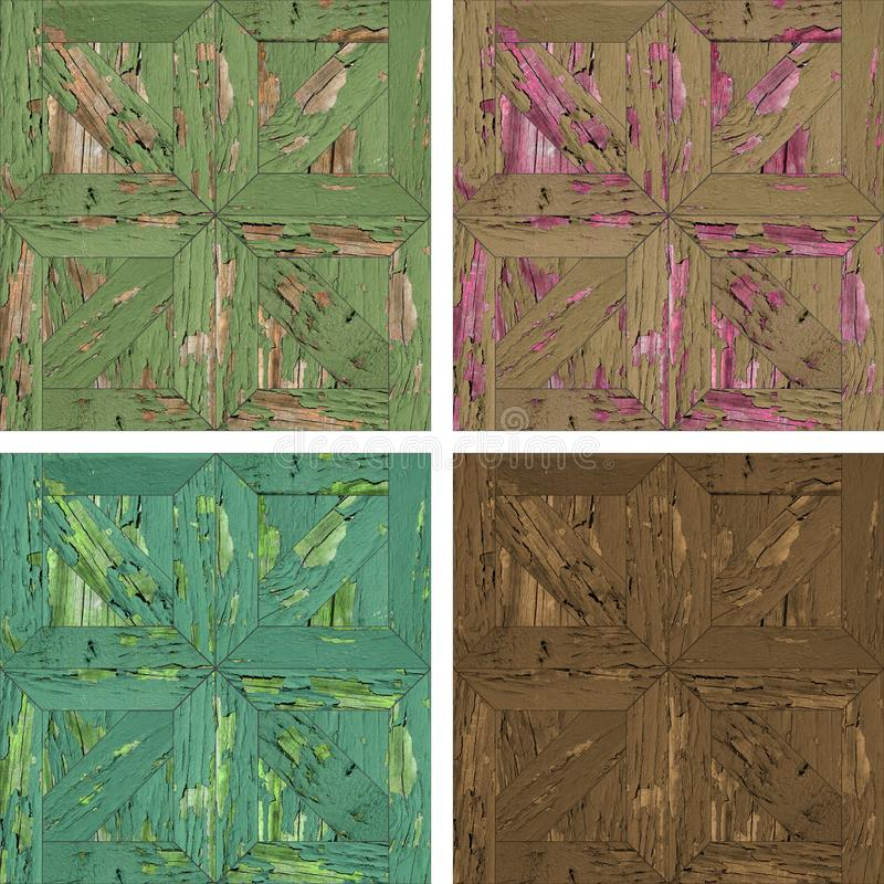 Seamless texture of gray concrete wallA collage of four seamless textures of wooden parquet royalty free stock image