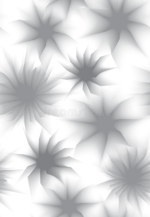 Seamless texture with gray flowers on white background. Vector pattern stock illustration