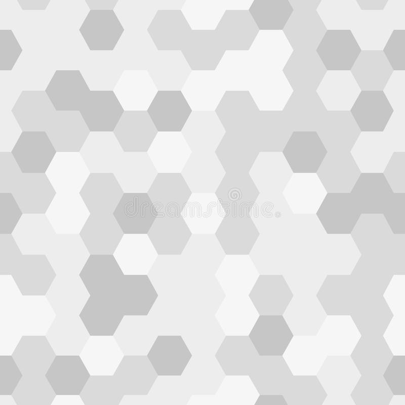 Seamless texture gray hex grid, geometric pattern. Vector Illustration stock illustration