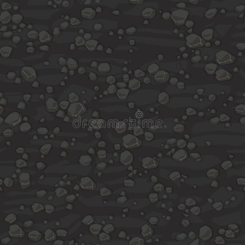 Seamless texture ground with small stones for concept design. Cute seamless pattern dark grey stones. Cartoon Seamless vector illustration