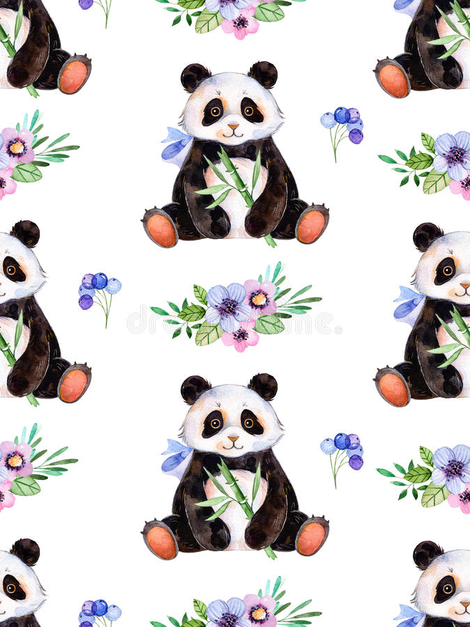 Seamless texture with handpainted watercolor elements, multicolored triangles and cute Panda royalty free illustration
